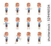 set of smart and cute character ... | Shutterstock .eps vector #529498534