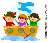 imaginative kids playing... | Shutterstock .eps vector #529499899
