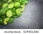 limes and mint on stone...   Shutterstock . vector #529501300