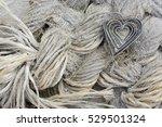valentine heart on dutch beach | Shutterstock . vector #529501324