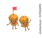 two blueberry muffins kids for... | Shutterstock .eps vector #529504090