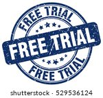 free trial. stamp. blue round...