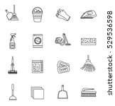 cleaning icons set  modern line ... | Shutterstock .eps vector #529536598