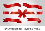 set of red ribbons on gray... | Shutterstock .eps vector #529537468