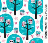 Seamless Owls On A Tree Patter...