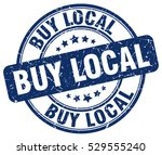 buy local. stamp. blue round... | Shutterstock .eps vector #529555240