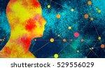 silhouette of a man's head.... | Shutterstock . vector #529556029