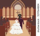 wedding ceremony inside church... | Shutterstock .eps vector #529564804
