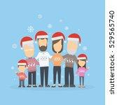big happy family in christmas...   Shutterstock .eps vector #529565740