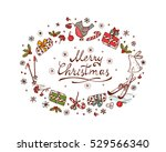 merry christmas card with hand... | Shutterstock .eps vector #529566340