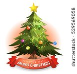 christmas tree with wishes... | Shutterstock .eps vector #529569058