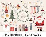 Christmas collection of decorative winter elements (vector design)