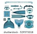 freediving equipment collection ... | Shutterstock .eps vector #529573318