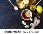 Cup Of Black Natural Tea With...