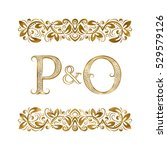p and o vintage initials logo... | Shutterstock .eps vector #529579126