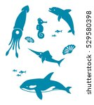set of nine blue icons for sea... | Shutterstock .eps vector #529580398