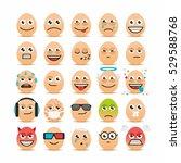 set of easter eggs emoticons. | Shutterstock .eps vector #529588768