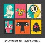 set of six retro postage s... | Shutterstock .eps vector #529589818