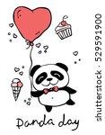 panda day. cute panda set with... | Shutterstock .eps vector #529591900