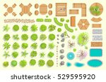 set of park elements.  top view ... | Shutterstock .eps vector #529595920