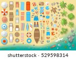 icons set. beach elements and... | Shutterstock .eps vector #529598314