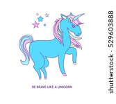 blue unicorn with pink mane and ... | Shutterstock .eps vector #529603888