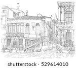 Venice - Grand Canal. Ancient building & bridge. Vector black & white drawing - stock vector