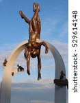 Small photo of PITSUNDA - ABKHAZIA, September 27, 2016. Sculpture The pearl divers.