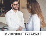 happy business colleagues... | Shutterstock . vector #529624264