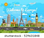 welcome to europe poster with... | Shutterstock .eps vector #529631848