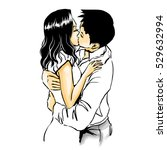 hot sensual kiss of two young...   Shutterstock .eps vector #529632994