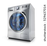 Modern Clothes Washer On White...