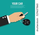 hand holding car key or home... | Shutterstock .eps vector #529637860