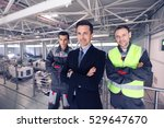 team of manager and two workers ... | Shutterstock . vector #529647670