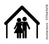 house shape with happy couple... | Shutterstock .eps vector #529665658