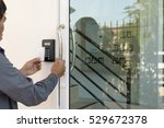 close up hand inserting keycard ... | Shutterstock . vector #529672378