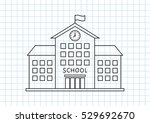 school drawing on squared paper ... | Shutterstock .eps vector #529692670