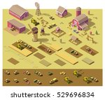 Vector Isometric Low Poly Farm...