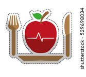 sticker of plate with apple... | Shutterstock .eps vector #529698034