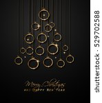 merry christmas tree flyer with ... | Shutterstock .eps vector #529702588