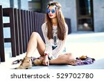 funny stylish sexy smiling... | Shutterstock . vector #529702780