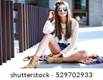 funny stylish sexy smiling... | Shutterstock . vector #529702933