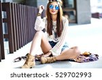 funny stylish sexy smiling... | Shutterstock . vector #529702993