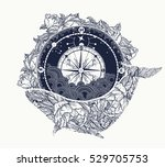 antique compass and floral... | Shutterstock .eps vector #529705753