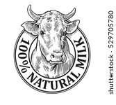 cows head. 100   natural milk.... | Shutterstock .eps vector #529705780