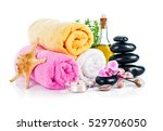 spa still life with candle... | Shutterstock . vector #529706050