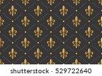 seamlessly tiling golden fleur... | Shutterstock .eps vector #529722640