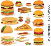 vector fast food clip art. set... | Shutterstock .eps vector #529729000