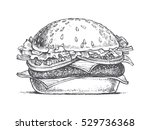 illustration of a burger ... | Shutterstock .eps vector #529736368