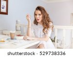 attractive happy young woman... | Shutterstock . vector #529738336